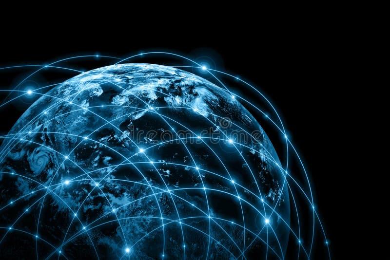 najlepszej biznesowej pojęcia pojęć globalnej kuli ziemskiej rozjarzone ręki internetów serie royalty ilustracja