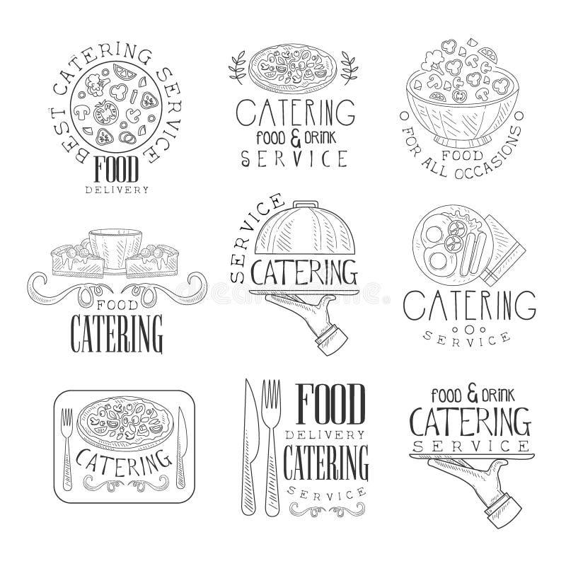 Najlepszy catering usługa set ręka Rysujący Czarny I Biały Szyldowi projektów szablony Z Kaligraficznym tekstem ilustracji