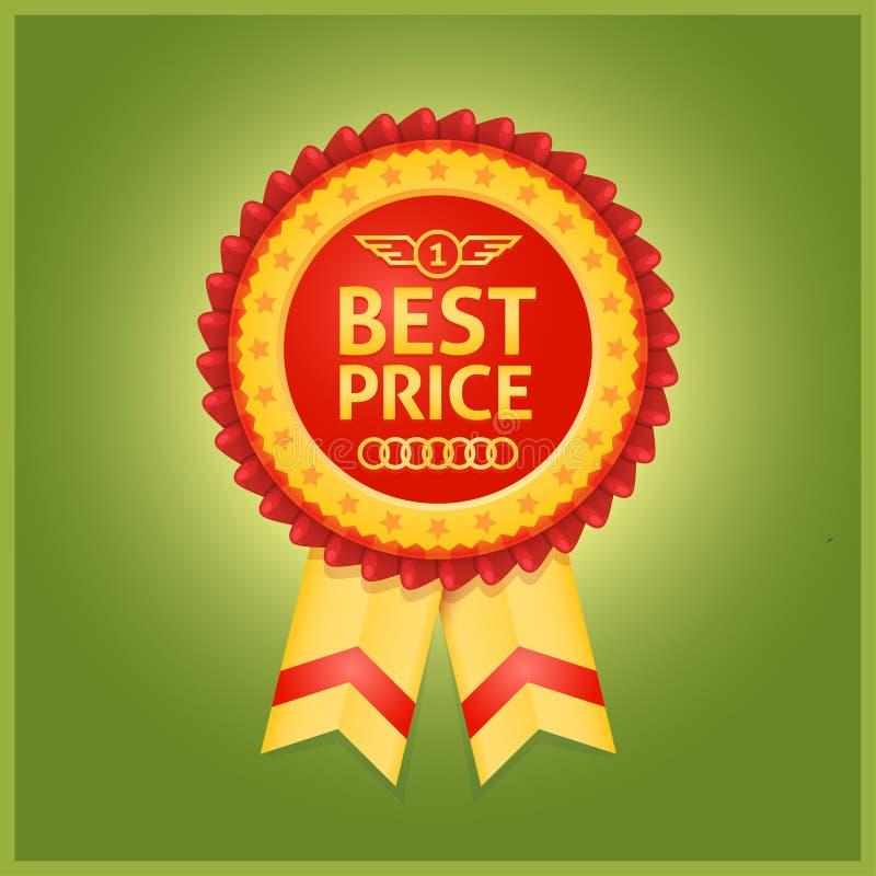 Najlepszy ceny czerwona etykietka na zieleni ilustracja wektor