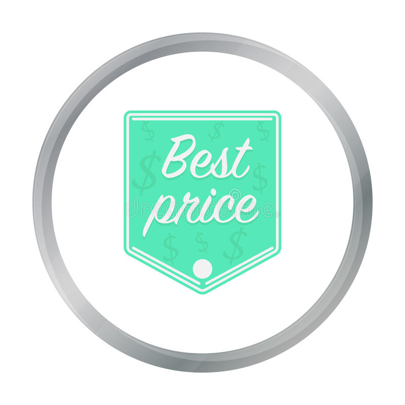 Najlepszy ceny ikona w kreskówka stylu odizolowywającym na białym tle Etykietka symbolu zapas royalty ilustracja