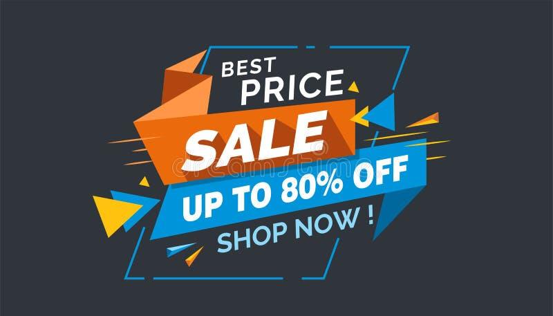 Najlepszy ceny sprzedaż, Kolorowa sprzedaż sztandaru etykietka, Promo sprzedaży karta obraz royalty free