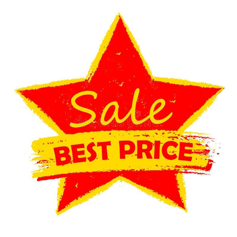 Najlepszy ceny sprzedaż w gwiazdzie, kolorze żółtym i czerwień rysującej etykietce, royalty ilustracja