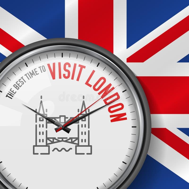 Najlepszy czas dla wizyty Londyn Biały wektoru zegar z sloganem tła British flaga analogowy zegarek Basztowa bridżowa ikona royalty ilustracja