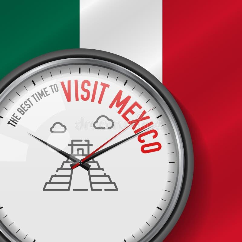 Najlepszy czas dla wizyty Meksyk Biały wektoru zegar z sloganem Meksykańskiej flaga tło analogowy zegarek Chichen Itza ikona ilustracji