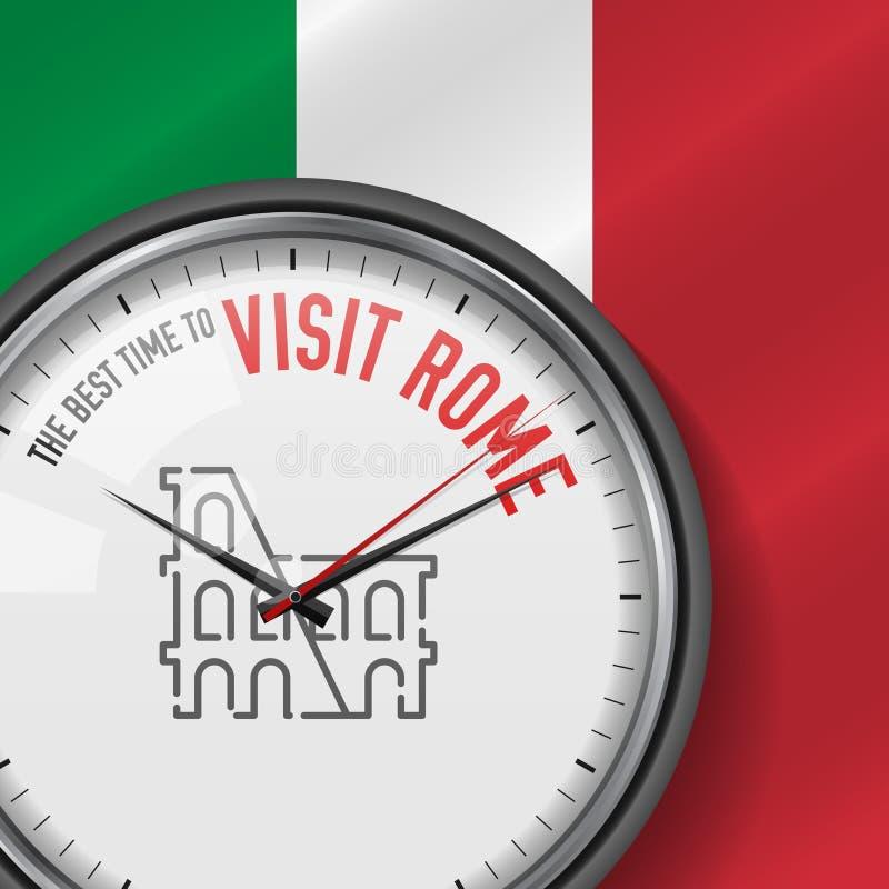 Najlepszy czas dla wizyty Rzym Biały wektoru zegar z sloganem Włoszczyzny chorągwiany tło analogowy zegarek Colosseum ikona ilustracja wektor
