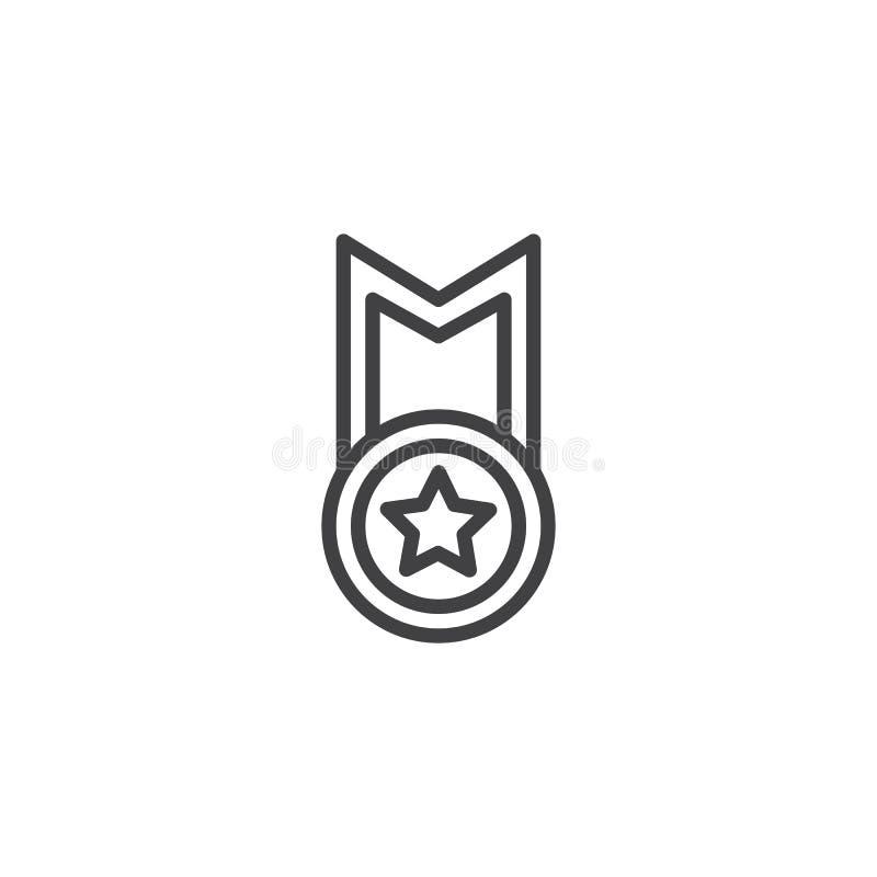 Najlepszy gwiazdowa medal linii ikona ilustracji