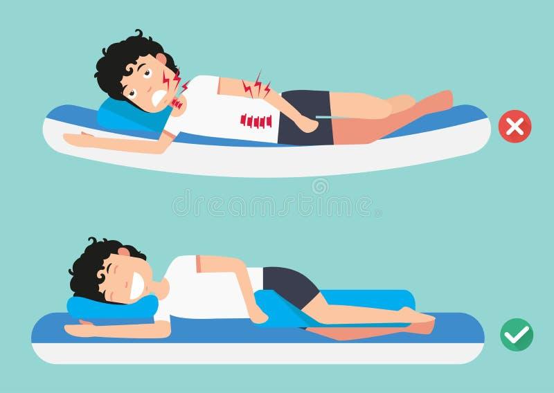 Najlepszy i złe pozycje dla spać ilustracja wektor