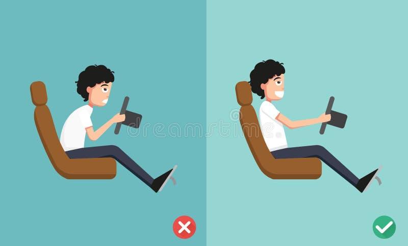 Najlepszy i złe pozycje dla jechać samochód ilustracji