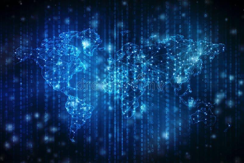 Najlepszy Internetowy pojęcie globalny biznes, Cyfrowej technologii Abstrakcjonistyczny tło Elektronika, Fi, promienie, symbolu i ilustracja wektor