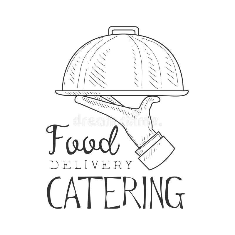 Najlepszy Karmowa ręka Rysujący catering Doręczeniowej usługa projekta Czarny I Biały Szyldowy szablon Z kelnera mienia naczyniem ilustracji