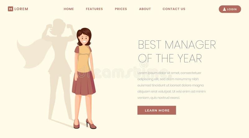Najlepszy kierownika lądowania strony wektoru szablon Super pracownik, pracownik rok strona internetowa, webpage Młoda dziewczyna ilustracja wektor