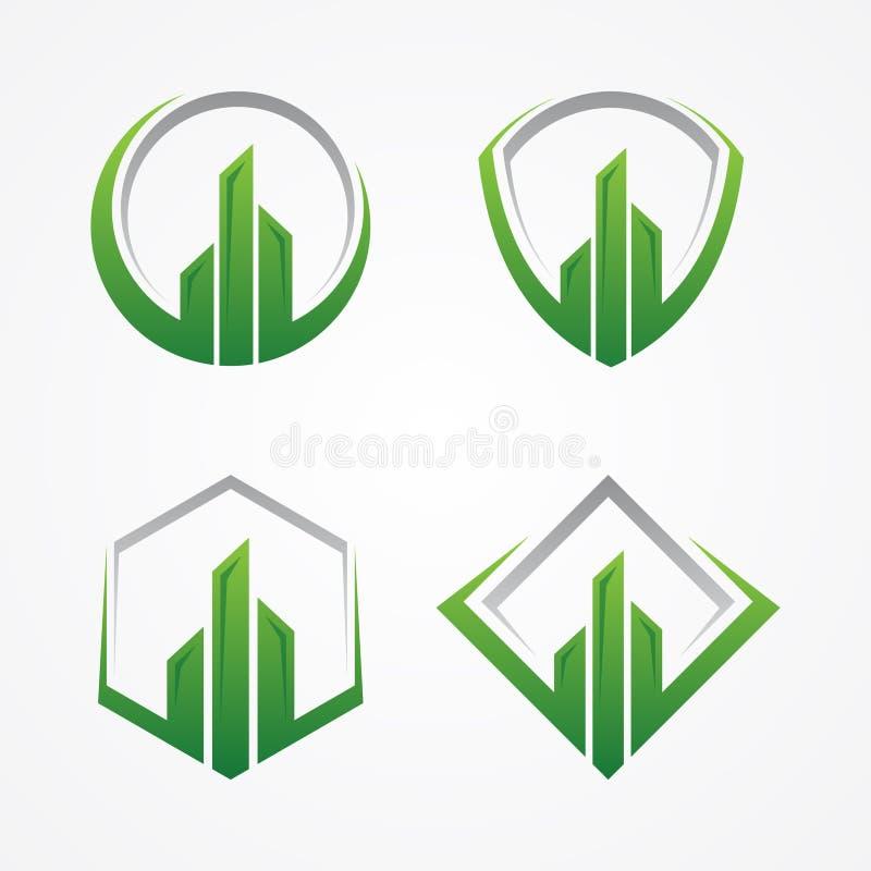Najlepszy kreatywnie realty budowy architektury symbol z niektóre ramy ilustracja wektor