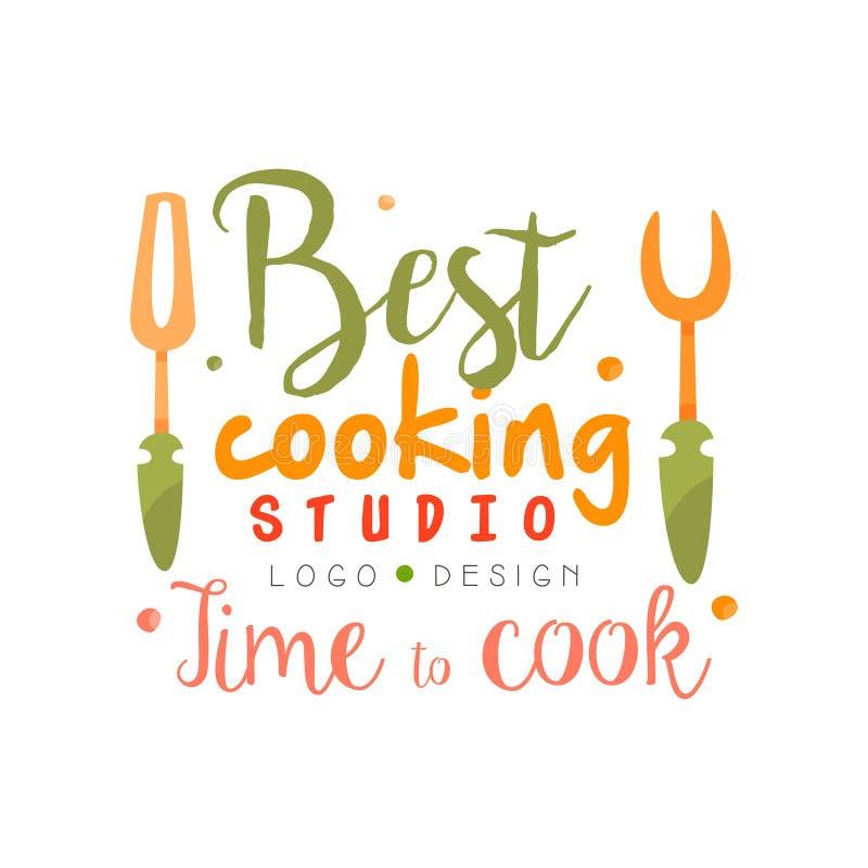 Najlepszy kulinarny studio, czas gotować logo projekt, kuchenny emblemat może używać dla kulinarnej klasy, kurs, szkoły ręka rysu ilustracja wektor