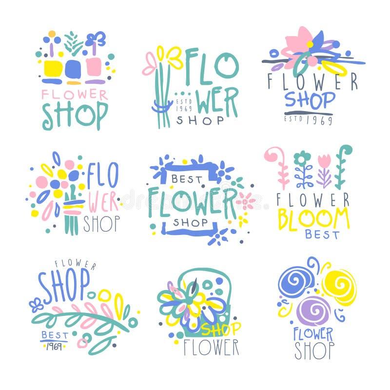 Najlepszy kwiatu sklepu set logów szablony wręcza patroszone wektorowe ilustracje royalty ilustracja