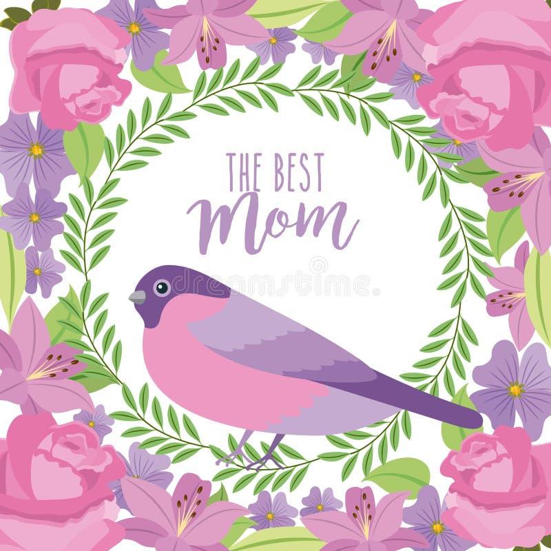 Najlepszy mama ślicznego ptasiego wianku kwieciści kwiaty graniczą dekorację ilustracji