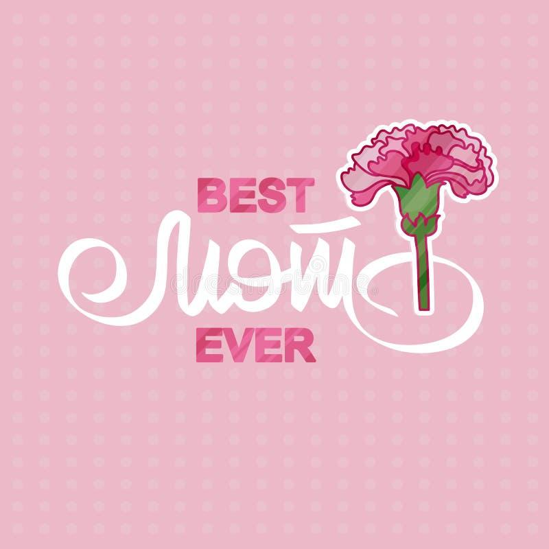 Najlepszy mama Kiedykolwiek Kartka z pozdrowieniami z różowym goździkiem ilustracja wektor