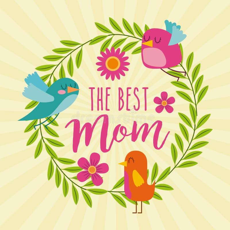 Najlepszy mama ptaków wianek opuszcza kwiecistą dekorację ilustracja wektor