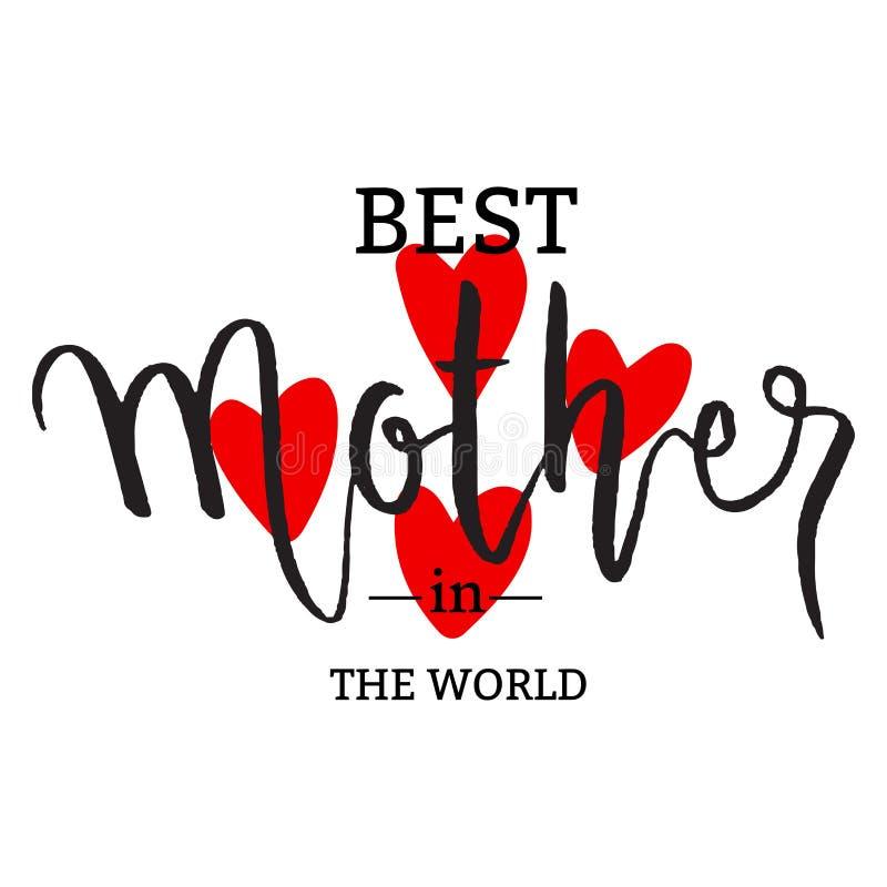 Najlepszy mama w światowej typografii z sercami kształtuje royalty ilustracja