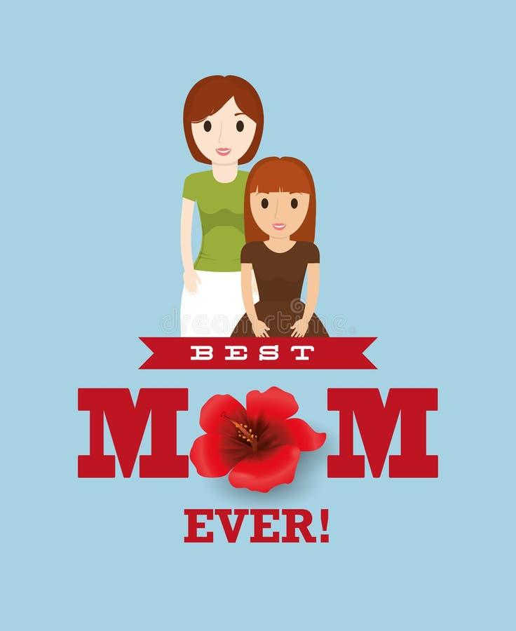 Najlepszy mama z dziecko uroczą kartą ilustracji