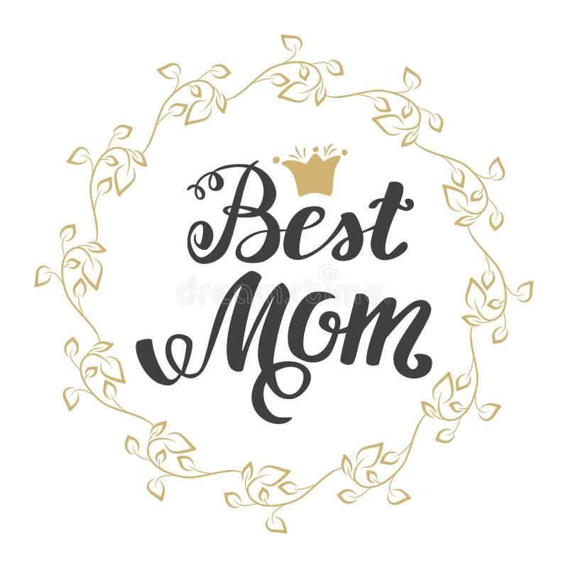 najlepszy mamo Kartka Z Pozdrowieniami matki dzień Ręki literowanie, powitanie inskrypcja royalty ilustracja