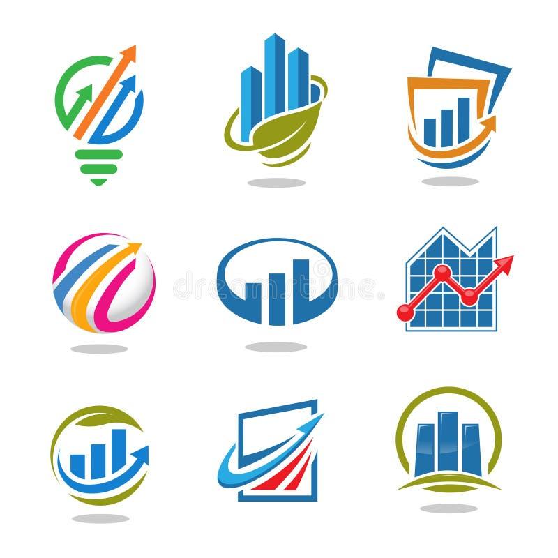 Najlepszy marketingowy finanse loga set i pomysł royalty ilustracja