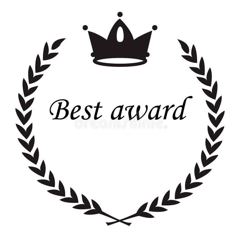 Najlepszy nagroda znak, korony nad wianku laurowi liście, okręgu mieszkania bla ilustracja wektor