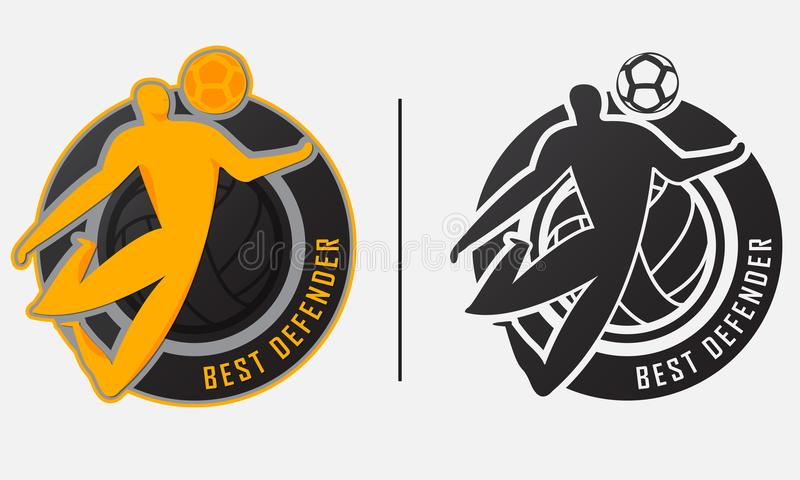 Najlepszy obrońcy trofeum Najlepszy gracza piłki nożnej lub gracza futbolu nagrody odznaki szablonu projekt dla best wierzchołka  ilustracji