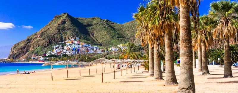 Najlepszy plaże Tenerife, Las - Teresitas blisko Santa Cruz kanarek obrazy stock