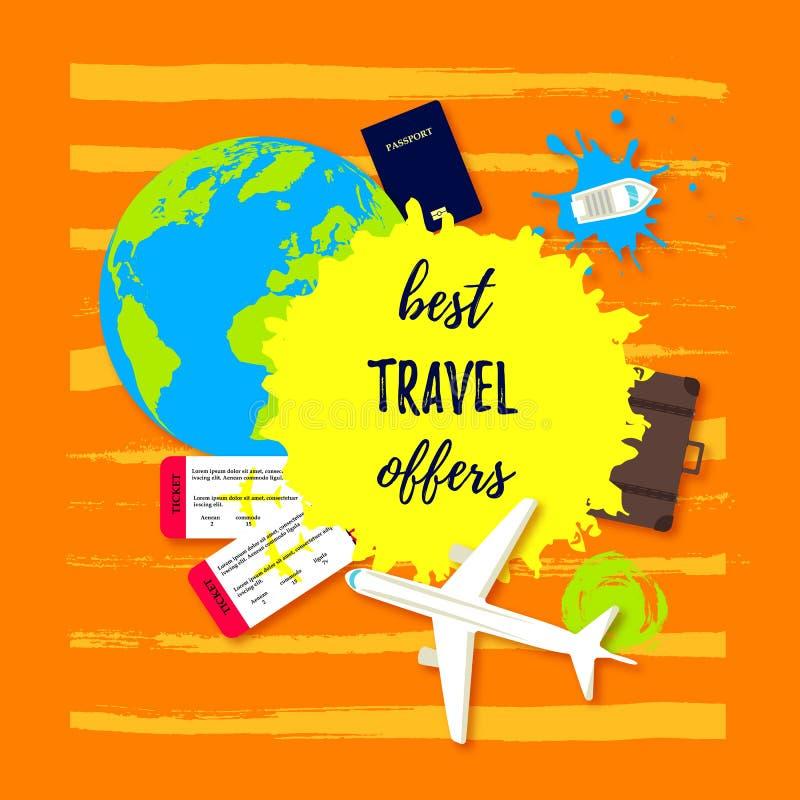 Najlepszy podróży oferta Paszport z biletami, podróży torbą, Ziemską kulą ziemską, łodziami i samolotową Płaską ikoną, samochodow ilustracja wektor