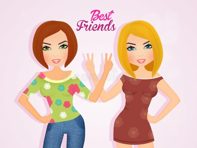 Najlepszy przyjaciel dziewczyny ilustracja wektor