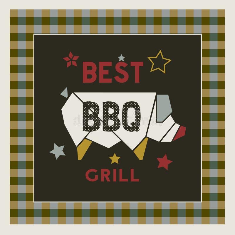Najlepszy retro stylowa ręka rysujący BBQ grilla kreskówki plakat ilustracji