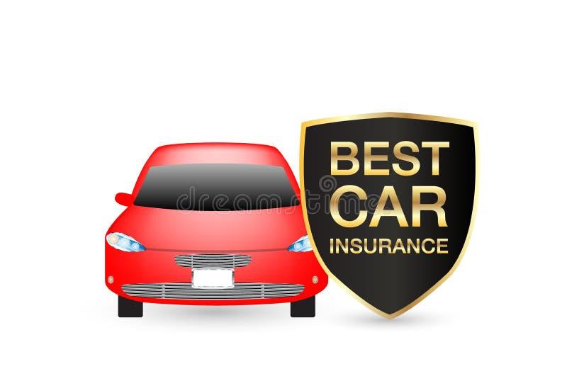 Najlepszy ubezpieczenie samochodu osłony logo z czerwonym samochodem ilustracja wektor