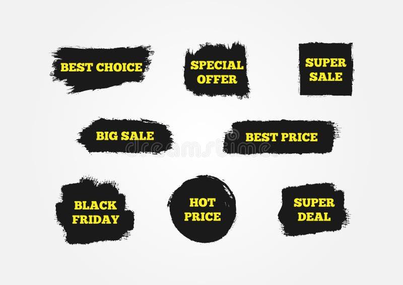 Najlepszy wybór, Gorąca cena, Black Friday, Specjalna oferta, Super transakcja, Duża sprzedaż Znaki przyciągać klientów ilustracji