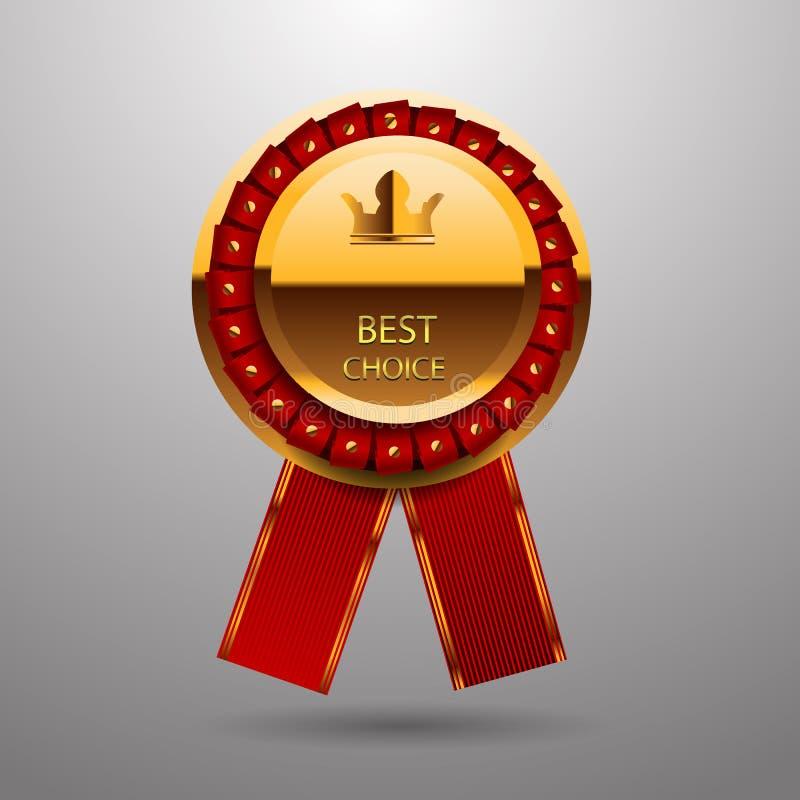 Najlepszy wyborowa złocista czerwona etykietka z faborkami eps 10 ilustracji