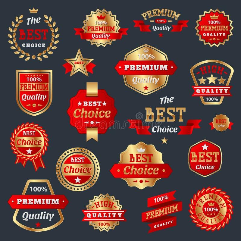 Najlepszy wyboru i premii ilości produktu odznak gwaranci znak przylepia etykietkę najlepszy symbolu medal inkasowa świadectwo gw ilustracja wektor