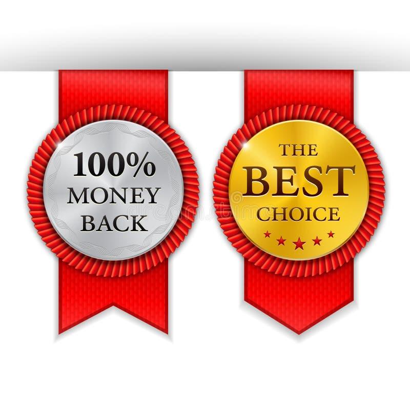 Najlepszy złote metal odznaki ustawiać Round złoty medal lub ilustracja wektor