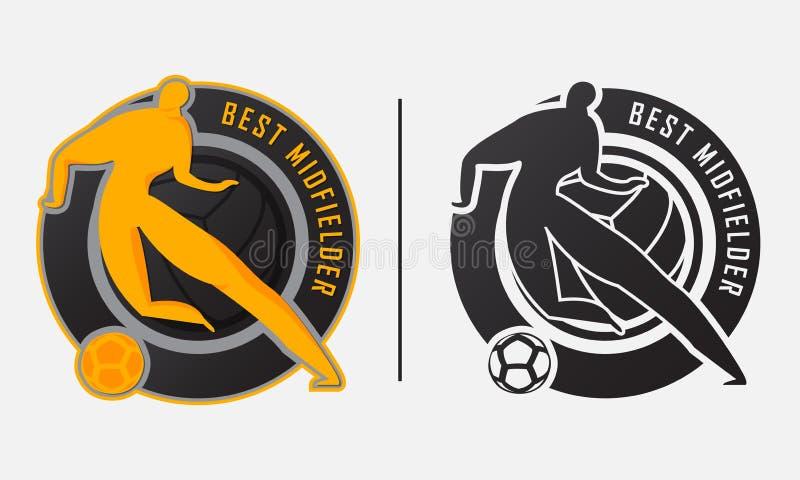 Najlepszy zawodnika środka pola trofeum Najlepszy gracza piłki nożnej lub gracza futbolu nagrody odznaki szablonu projekt dla bes ilustracja wektor