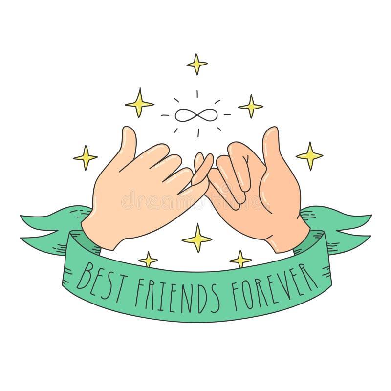 Najlepszych przyjaciół na zawsze kreskówki stylowi mali palce z znakiem, faborkiem i gwiazdami nieskończoności, royalty ilustracja