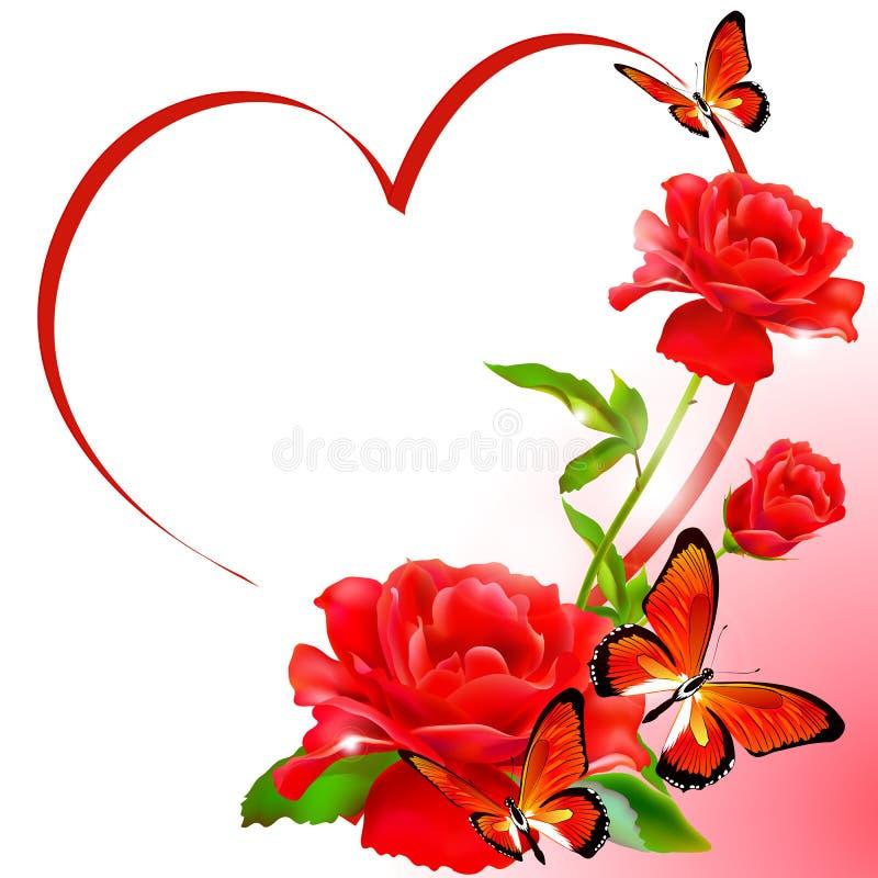 najpiękniejsze czerwone róże Kwiaty z miłością ilustracja wektor