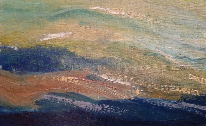 najpiękniejsze fale obraz olejny abstrakcyjne Harmoniczni kolory ilustracja wektor
