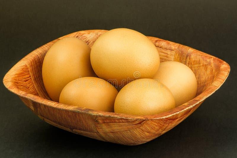 najpierw brązowe jajka skupiają się dwa zdjęcie stock