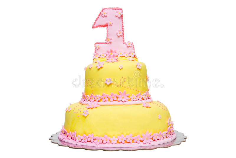 najpierw urodzinowy tort obrazy stock