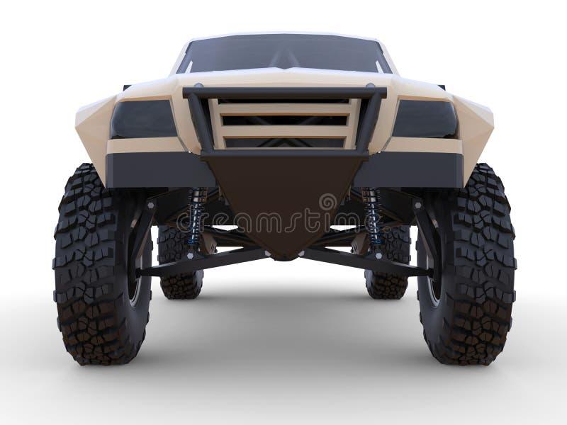 Najwięcej przygotowanej sport rasy ciężarówki dla pustynnego terenu Frontowy widok ilustracja wektor