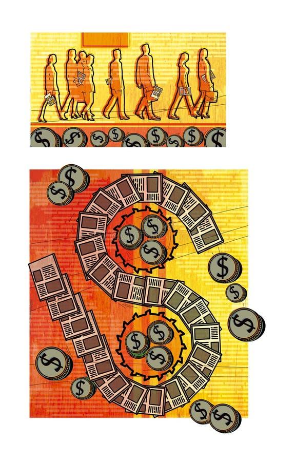 Nakładowy biznes Tłum urzędnicy z wokoło świeżymi gazetami Dolarowy znak w postaci taśmy od royalty ilustracja