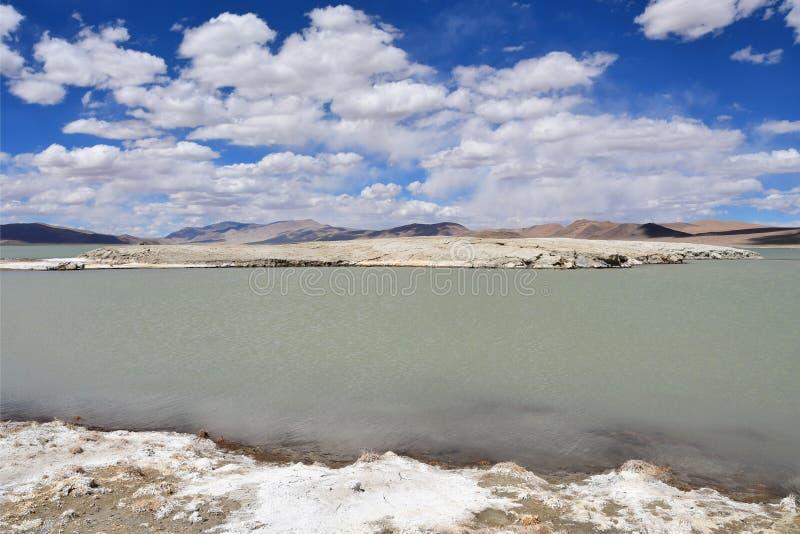 NAK fuertemente salino de Ruldan del lago cerca del pueblo de Yakra en Tíbet en el tiempo nublado, China fotos de archivo