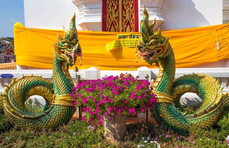 Naka at Chedi of Phra That Choeng Chum temple, Sakon Nakhon, Thailand. Asia royalty free stock images