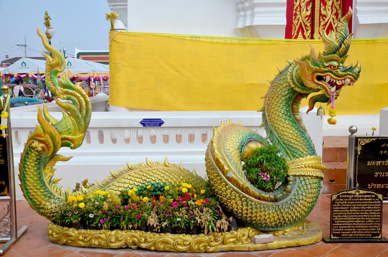 Naka at Chedi of Phra That Choeng Chum temple. For Thai people and traveler visit and pray on January 16, 2016 in Sakon Nakhon, Thailand royalty free stock photography