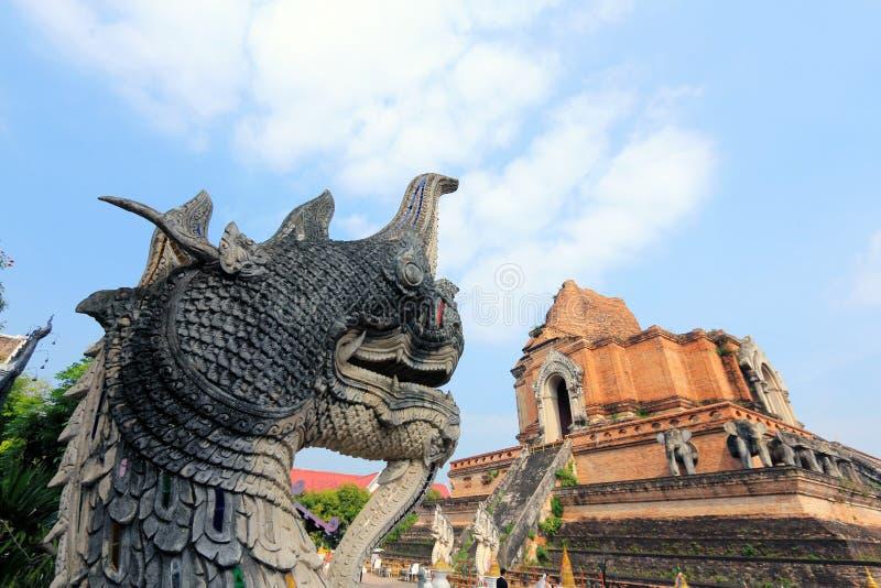 Naka i Duża stupa przy Watem Jedi Luang zdjęcie royalty free