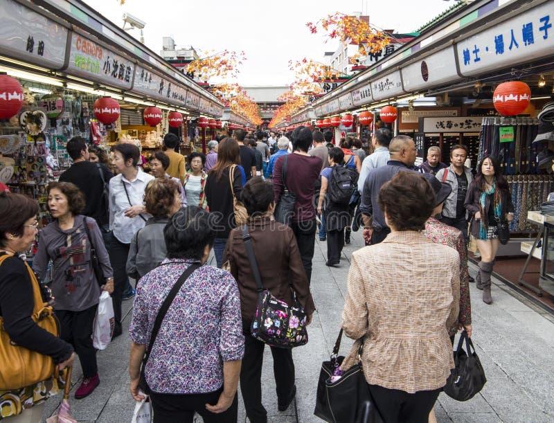 Nakamise dori购物街道 图库摄影