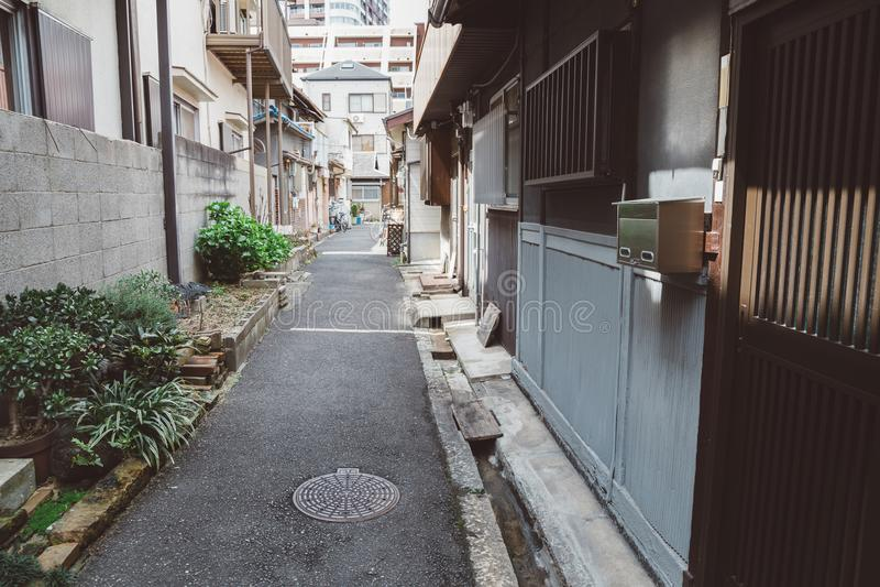 Nakazaki-Chostraat in Osaka, Japan stock foto